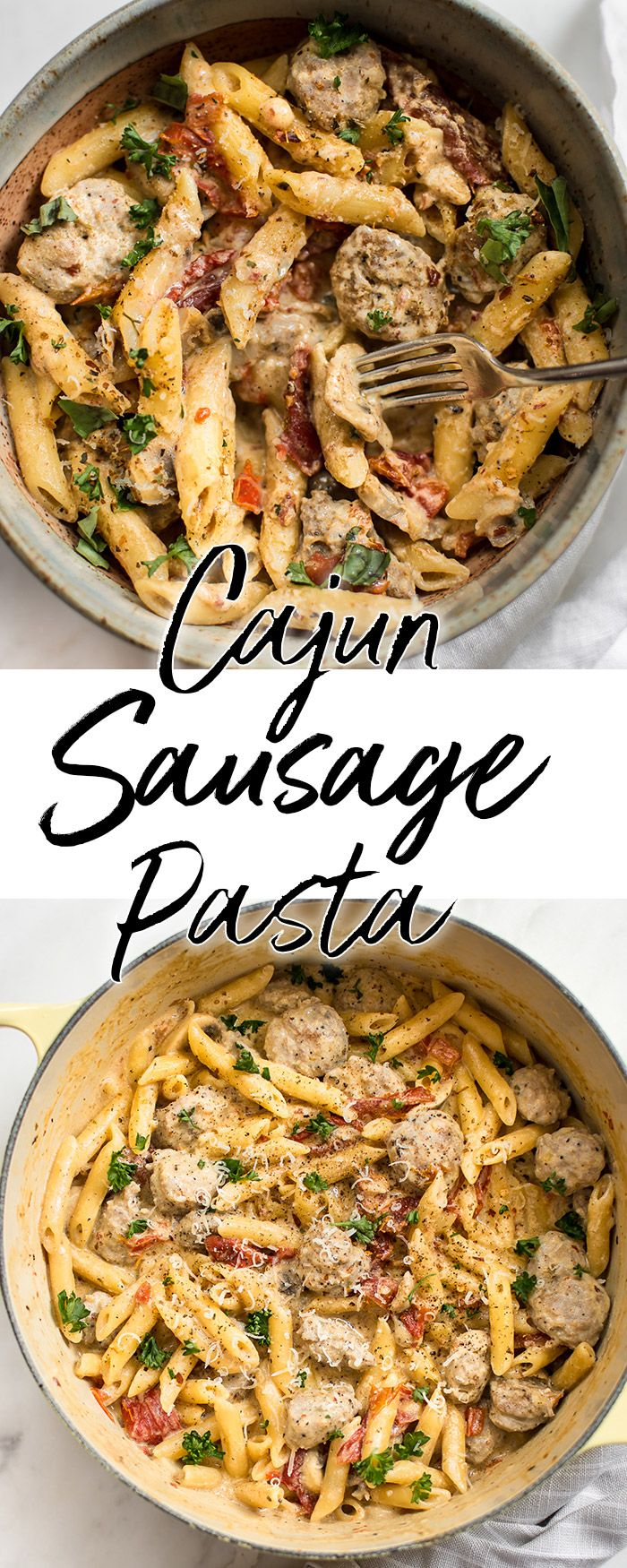 This easy one pot creamy Cajun sausage pasta recipe is flavorful comfort food at its best! Ready in just over half an hour. Perfect for a weeknight dinner. #Cajunpasta #sausagepasta #onepotpasta #onepotmeal #Cajunrecipe