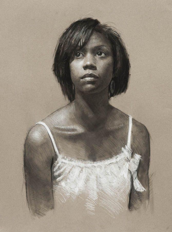 Artist: Jeffrey Hein {contemporary realism figurative art African-American black female head décolletage woman face portrait b+w drawing #loveart} <3 jeffhein.com