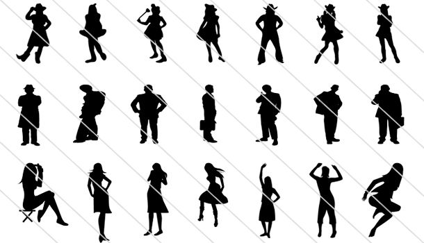 Incredibly Detailed 300 People Silhouettes Vector
