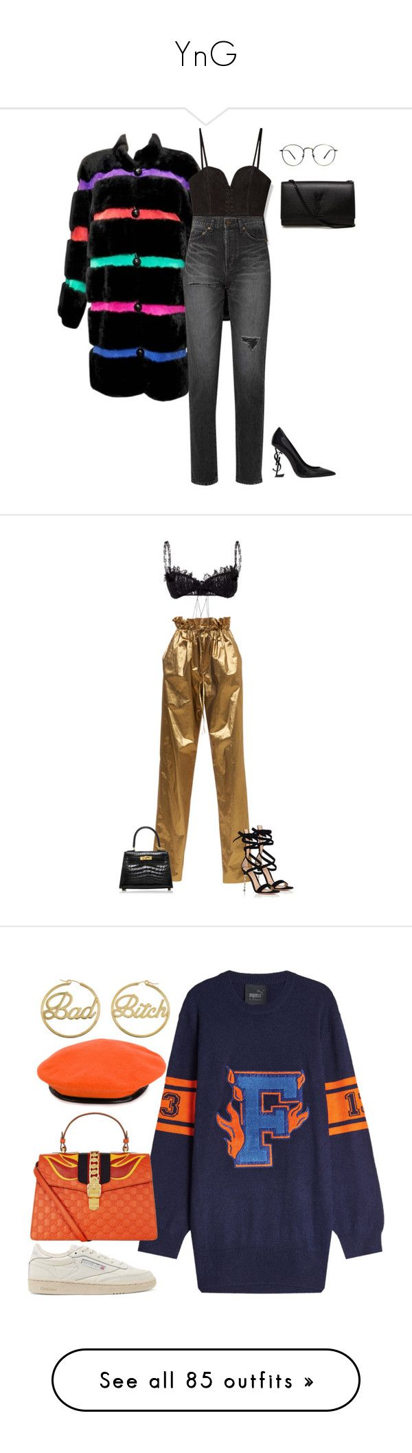 """""""YnG"""" by ajd2 ❤ liked on Polyvore featuring Yves Saint Laurent, Sally Lapointe, Brock Collection, Hermès, Gianvito Rossi, Puma, Gucci, Reebok, me you and Gosha Rubchinskiy"""