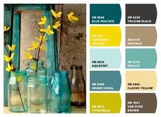blue brown yellow living room - Google Search