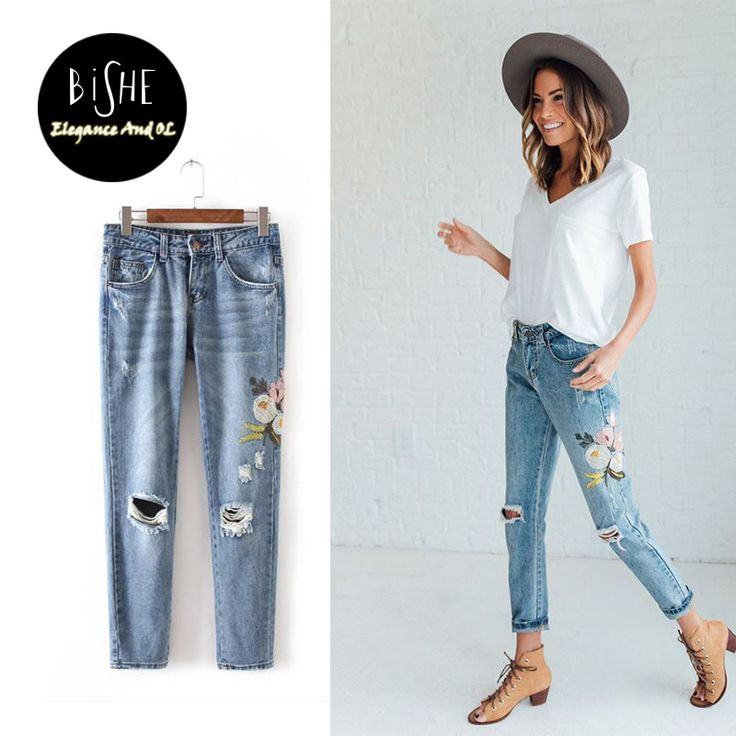 Flowers Embroidered Jeans Women 2017 Fashion mom Pants Denim Jeans For Woman Pencil Pants Light Blue European Femme Trousers                                                                       Women Ripped Embroidery Jeans femme Plus Size Vintage Female 2017 Ladies Blue Denim Pants Pencil Casual Brand Fashion Flowers Embroidered...