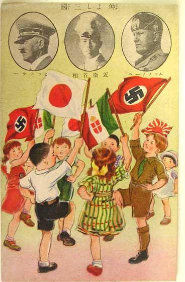 "texascheeseman: WW2 Japanese propaganda poster…are the fascist children doing the hokey pokey? asianhistory: A Japanese propaganda poster for the Tripartite Pact: ""Good friends in three countries"". (left Adolf Hitler, center Fumimaro Konoe, right Benito Mussolini)"