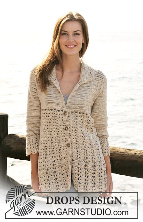 "*Free Crochet Pattern:  Crochet DROPS jacket with fan pattern in ""Muskat"". Size S - XXXL. ~ DROPS Design"