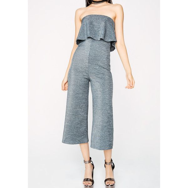 Grey Knit Ruffle Jumpsuit (79 SAR) ❤ liked on Polyvore featuring jumpsuits, teal, knit jumpsuit, tube jumpsuits, teal jumpsuit, gray jumpsuit and grey jumpsuit