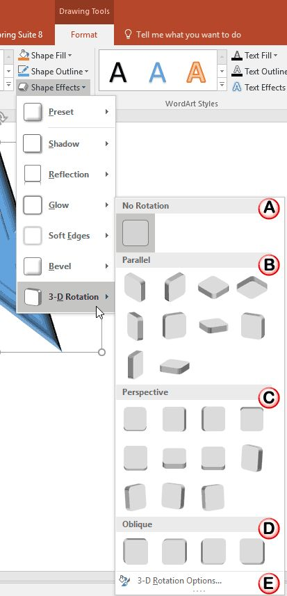 Apply 3-D Rotation Effects to Shapes in #PowerPoint 2016 for Windows