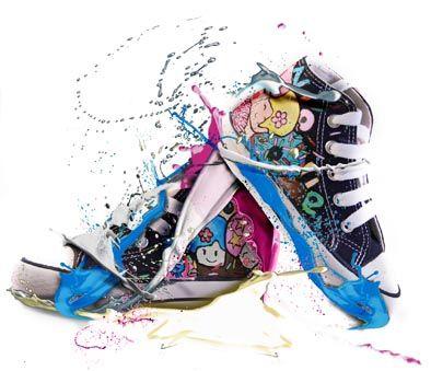 Verf spetters  / schoenen.