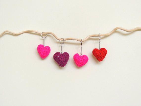 Keychain Crochet Heart Heart Keychain by amezarcreations on Etsy