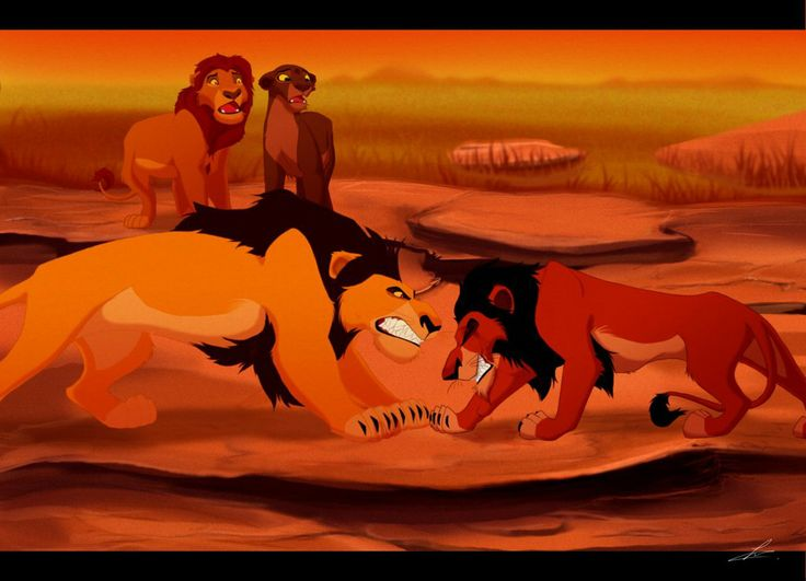 Ahadi confronts his younger son, Scar, while older son ...