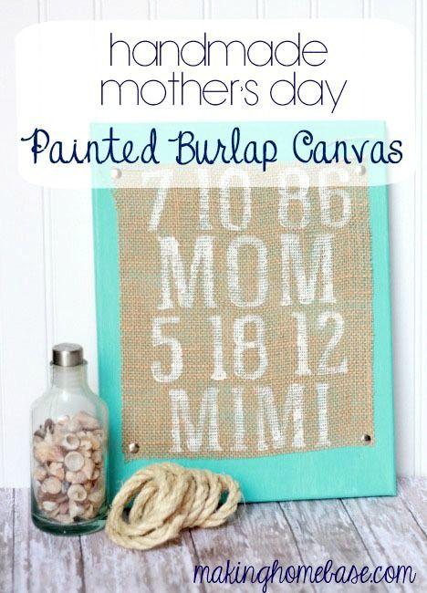 Handmade Mothers Day Painted Burlap Canvas #handmademothersday