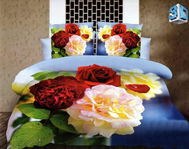 Súprava posteľných obliečok modrej farby s kvetmi