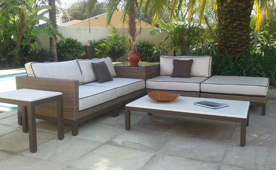 Harmony Modular Lounge Suite. Powder Coated Aluminum, UV stabilized Polycane and Fabric. Outdoor Patio Furniture. Removable Cushions. Outdoor Covers Available. Customizable Frame, Fabric and Polycane Colors.