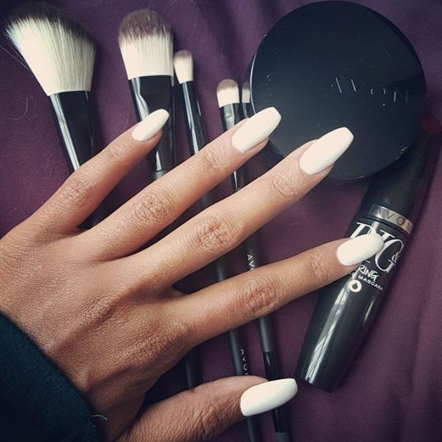 New nails and new make up...what more could a girl ask for?  #whitenails #acrylics #makeup #brushes #mascara #avon