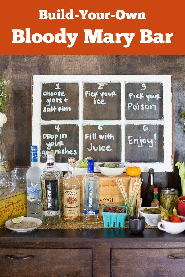 Brunch parties at home are so much better with a DIY Bloody Mary Bar.