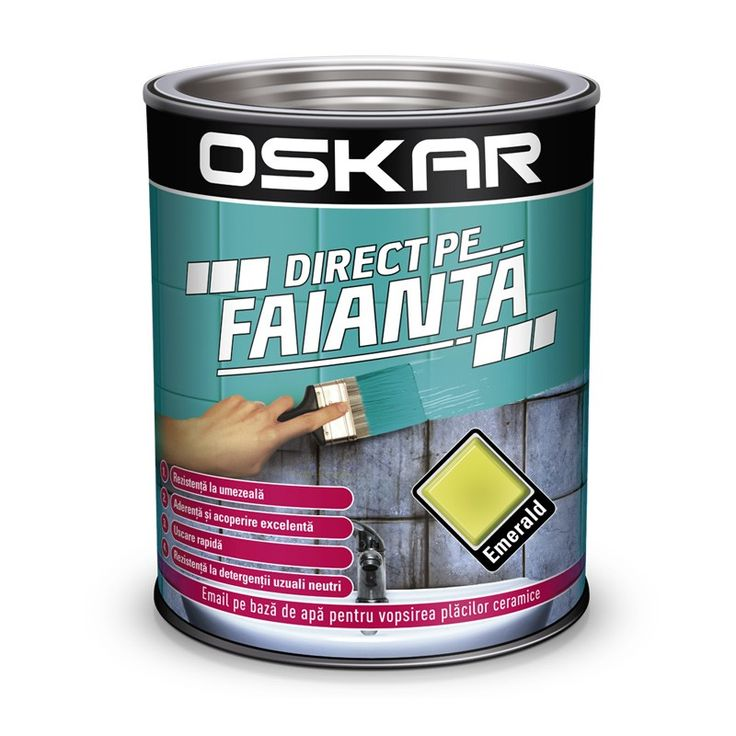 Vopsea Oskar Direct pe Faianta Verde Emerald pentru reconditionarea rapida a faiantei vechi. Comanda online acum pe traget.ro.