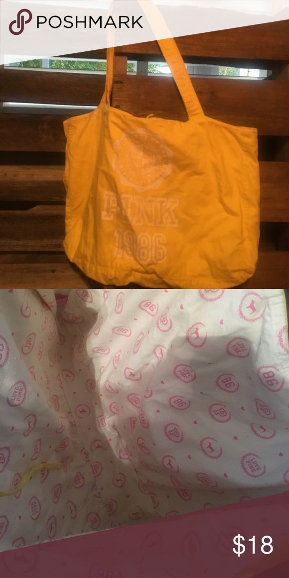 Victoria's Secret PINK tote bag Yellow tote bag, perfect for over nights, beach/pool bag! Used maybe once, if that! PINK Victoria's Secret Bags Totes