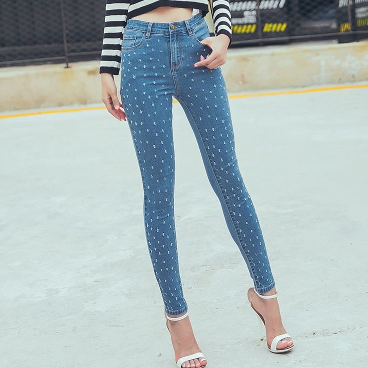 Women's Fashion skinny jeans holes Size:25-32 Color:Light Blue