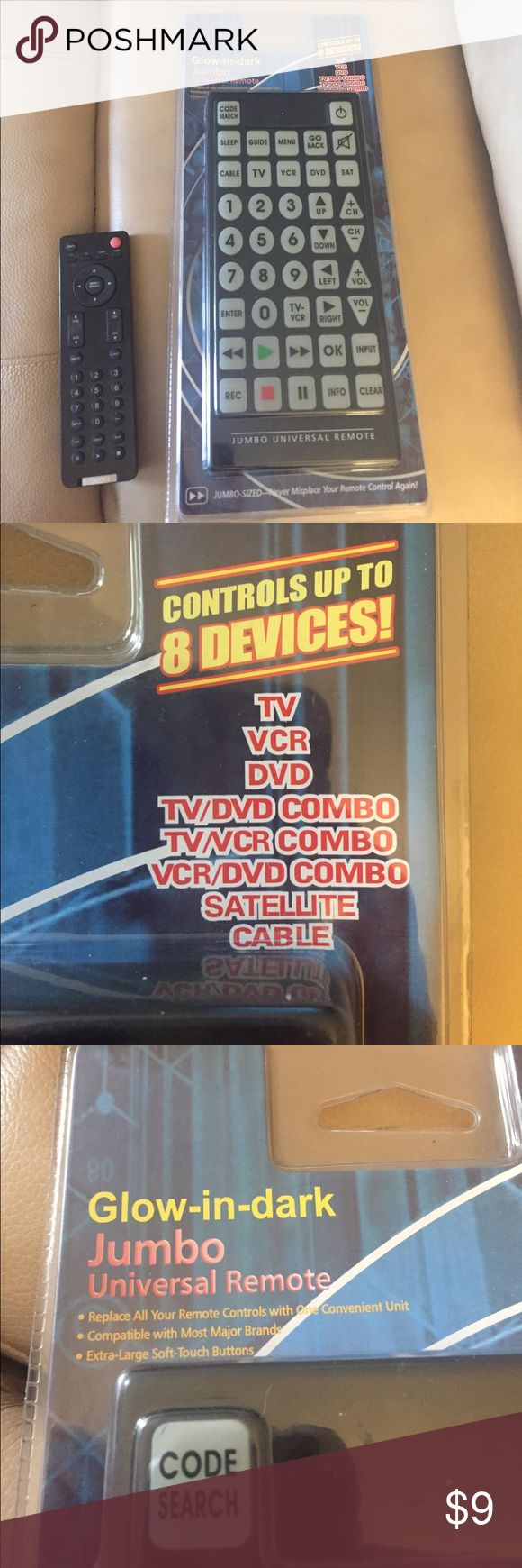tv vcr combo new. jumbo universal remote new glow in the dark keys includes; tv/dvd/vcr tv vcr combo new