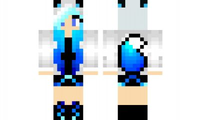Minecraft skin: Blue-Haired Hoodie Fox Girl