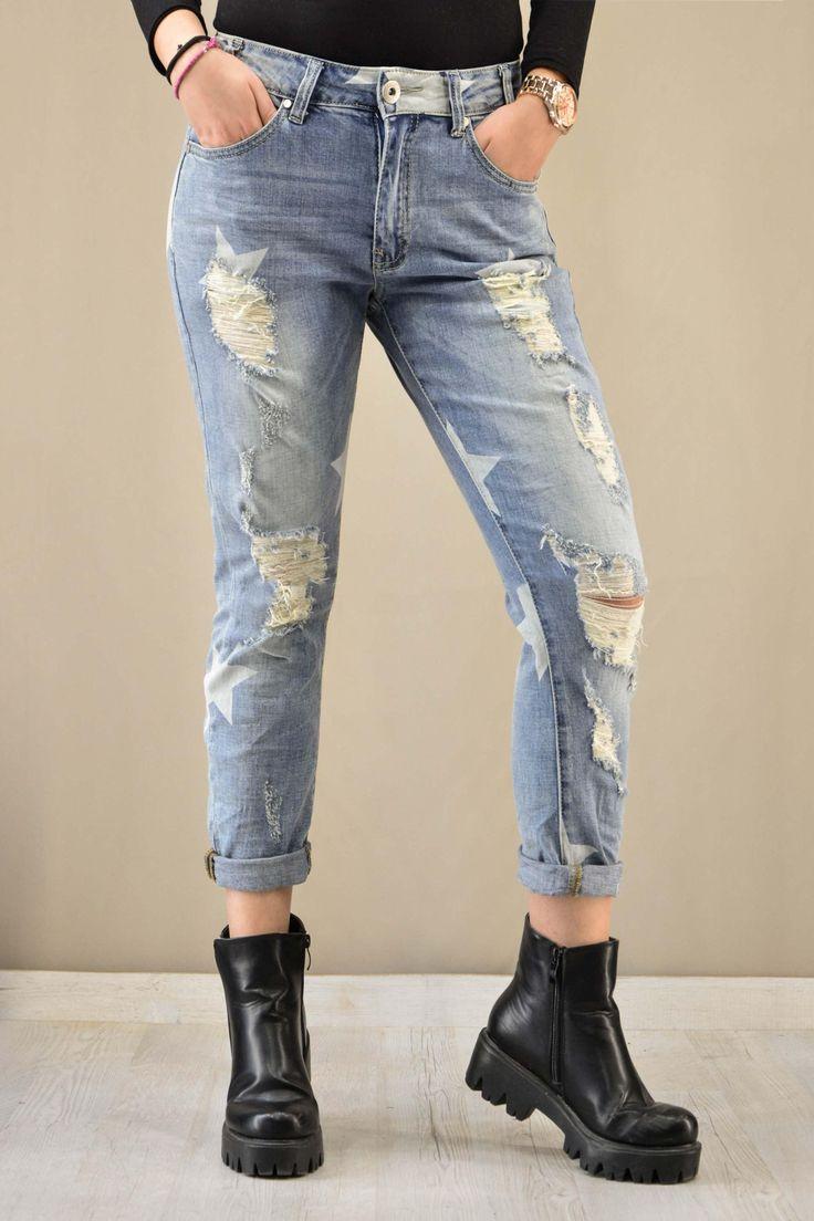 Γυναικείο denim boyfriend ψαράδικο | Παντελόνια jeans - Jeans &