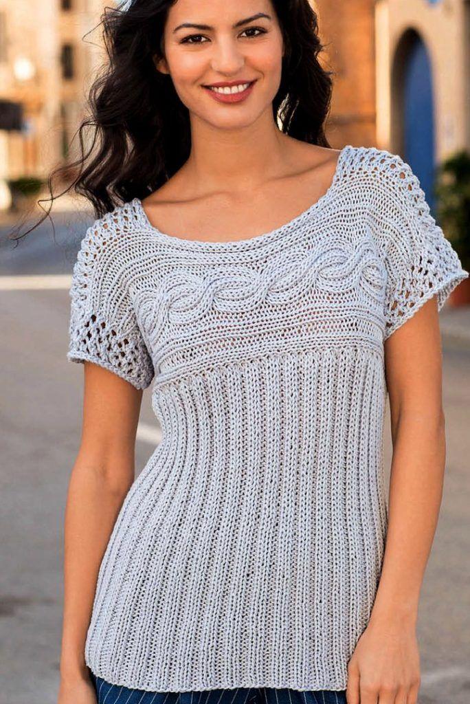 пуловер с горизонтальной косой вязание спицами для женщин вязание