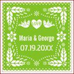 Papel picado love birds lime green wedding fiesta standard cocktail napkin | Zazzle
