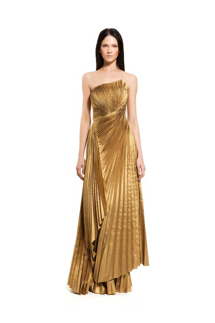 Carlos Miele - Pre #dress #eveningwear #gold #pleated #construction
