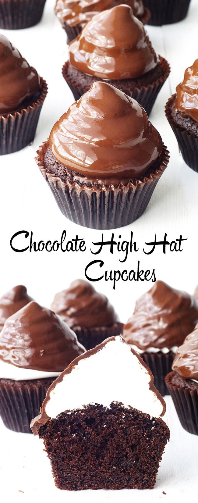 Chocolate High Hat Cupcakes with easy homemade marshmallow frosting from Sweetest Menu