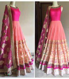 Buy Pink embroidered georgette semistitched salwar with dupatta anarkali-salwar-kameez online