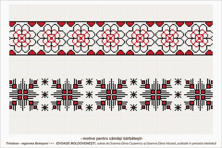 Semne Cusute: romanian traditional motifs: MOLDOVA - Botosani, sat: Tristiana