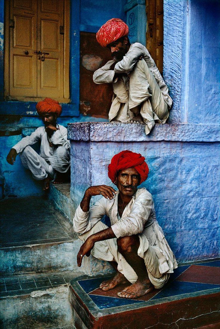 Three Men on Steps    INDIA-10233