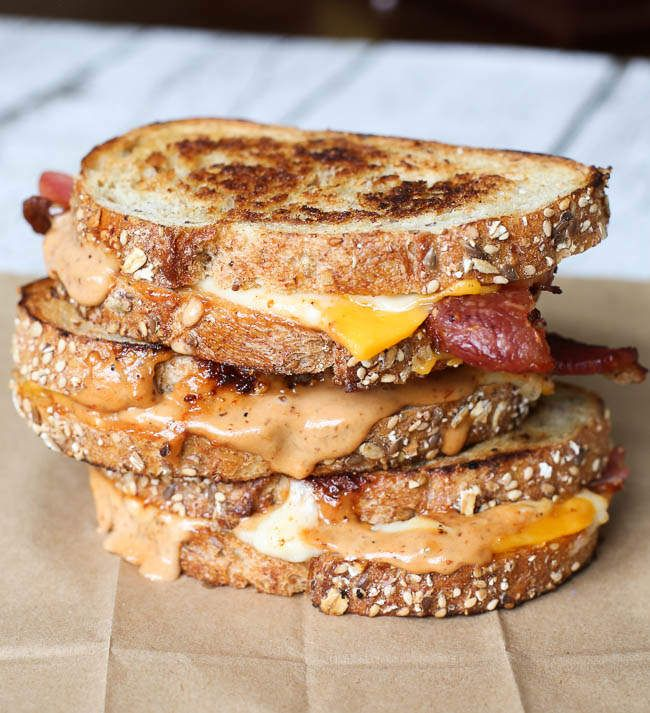 Bacon cheddar grilled cheese with sweet mustard