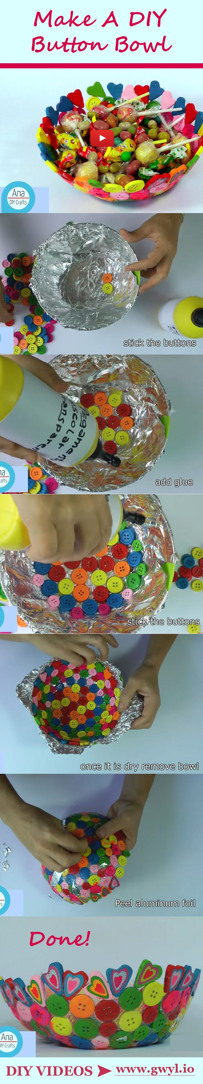 This DIY bowl made out of buttons will show you how to upcycle your old buttons into a trendy little bowl! - Video tutorial ---> http://gwyl.io/make-a-one-of-a-kind-bowl-using-buttons/ | Make A One Of A Kind Bowl Using Buttons