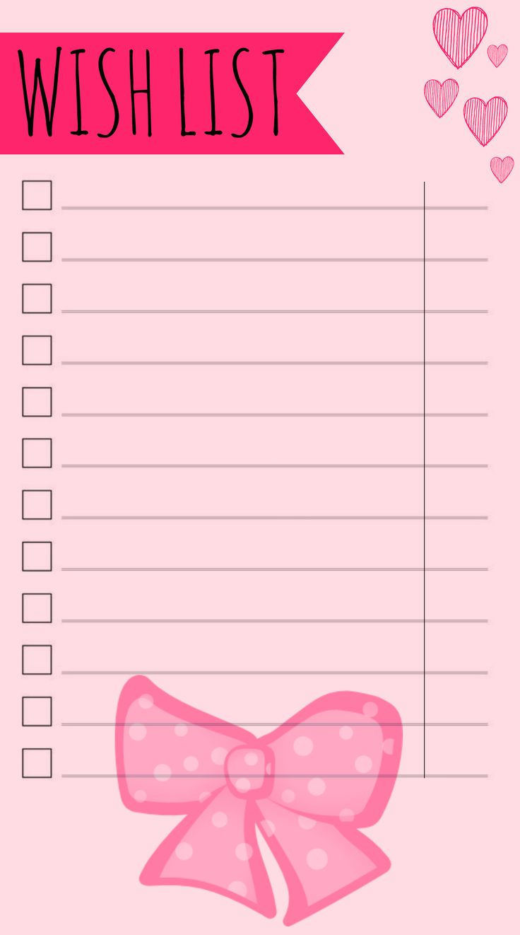 Wish list. Free Filofax Printable time planner, personal organizer