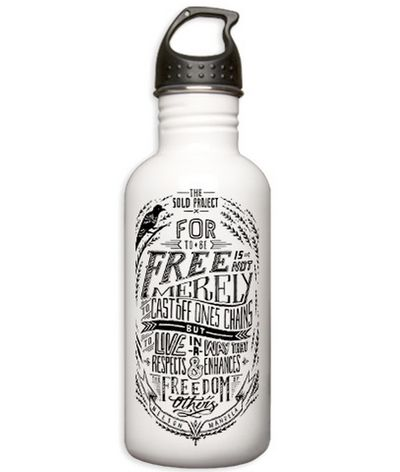 """100%. Every penny of every purchase supports The SOLD Project's mission.  This 1L stainless water bottle has the Nelson Mandela quote """"For to be free is not merely to cast off one's chains, but to live in a way that respects and enhances the freedom of others"""". Great as a conversation starter to share about what TSP is doing. Be the voice. Be the change."""