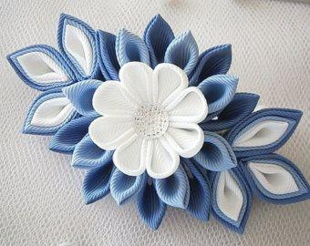 Hecho a mano Kanzashi tela flor del grosgrain de la cinta