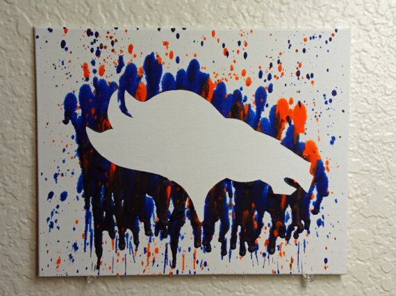 Denver Broncos Melted Crayon Art by MikeAndKatieMakeArt on Etsy