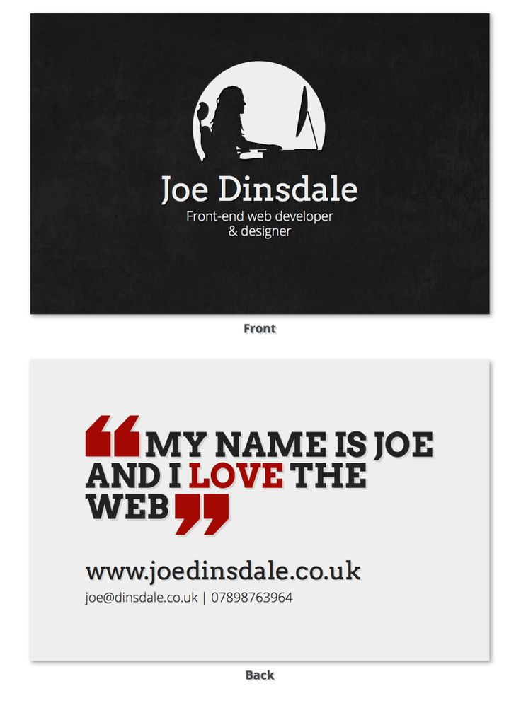 Joe Dinsdale Business Card - V2