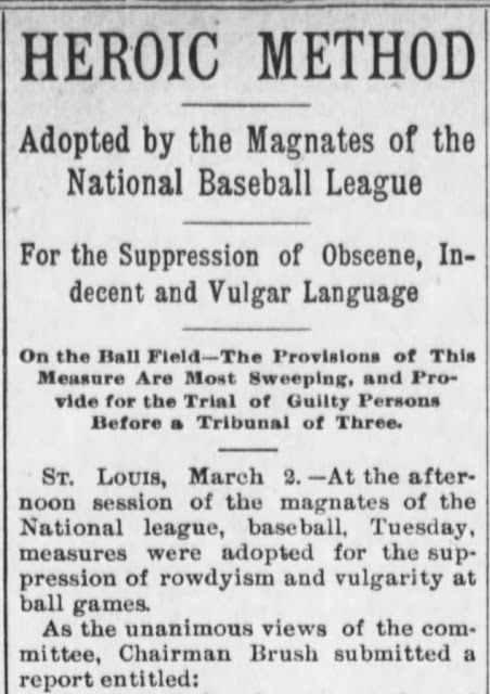 Sweet Americana Sweethearts: Victorian Americans and Vulgar Language -- by Kristin Holt | Magnates of the National Baseball League move to suppress obscene, indecent, and vulgar language | The Public Ledger of Maysville, Kentucky on March 2, 1898, part 1 of 2.