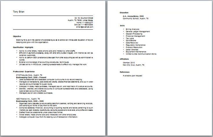 Bookkeeping Clerk Resume