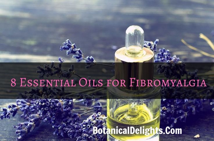 8 Essential Oils for Fibromyalgia. Fibromyalgia is often treated with antidepressants, sedative pills, serotonin-inducing medicines, etc. These medications work by treating the symptoms, but commonly leave side effects like relapses. By using essential oils for fibromyalgia, you can be assured of a safe and lasting solution. Not only will essential oils provide significant relief to the pain, but they will also calm your nerves and allow you to take your life back.