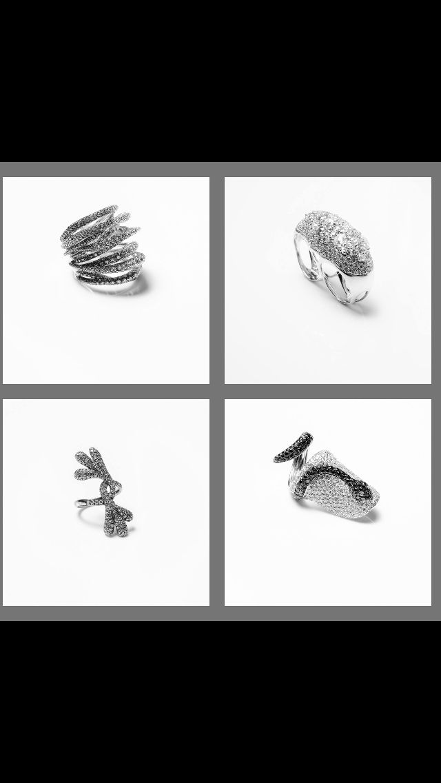Orme jewelry , unique rings with white, black and grey diamonds