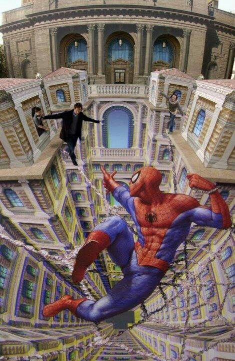 . Chalk art with spiderman! Seriously I feel like I'm falling into this comic
