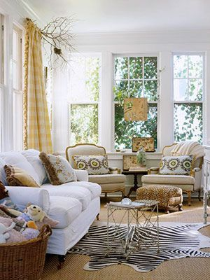 colorsCozy Room, Living Rooms, Curtains Rods, Livingroom, Zebras Rugs, Branches Curtains, Trees Branches, Families Room, Sun Room