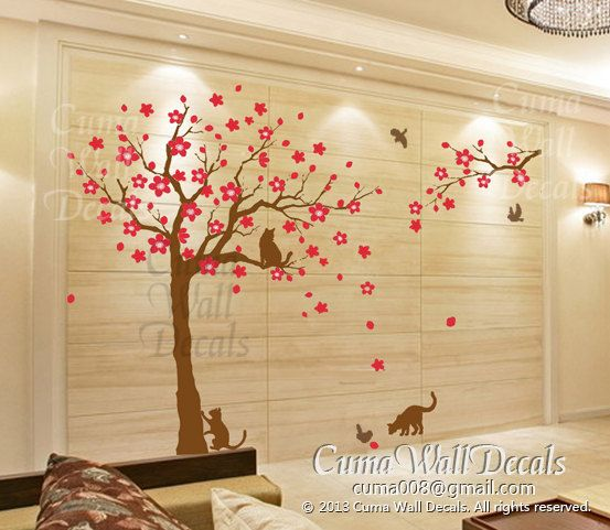 Tree and cat wall decals Animal wall mural Flower tree wall sticker for children kids Nursery - tree birds cat Z230 cuma