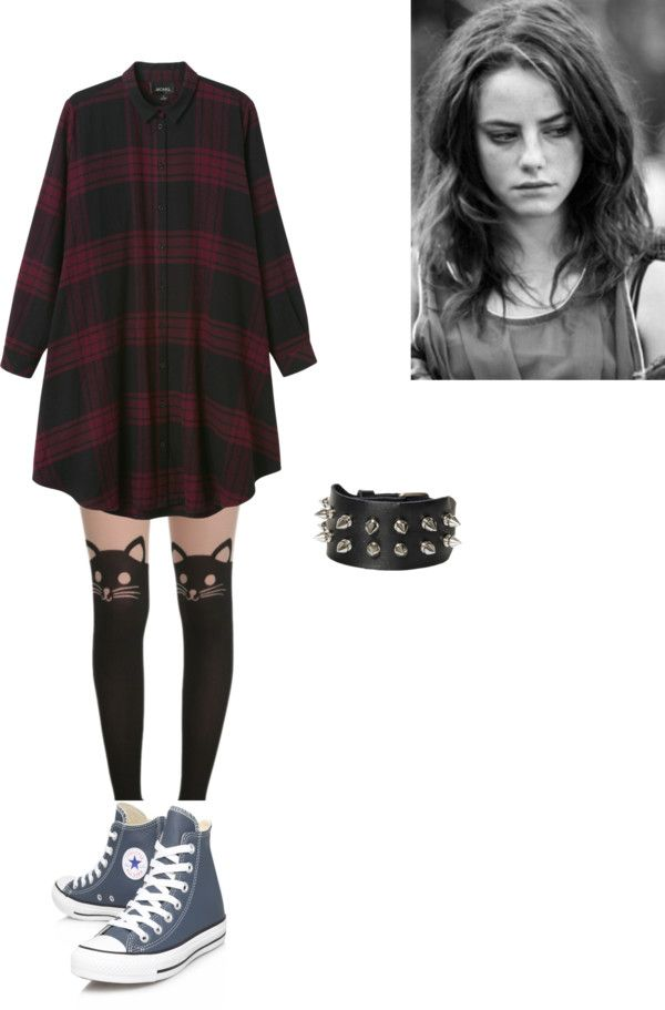 inspired with cat tights by effy-stonem-style featuring leather shoes  Monki dress, $45 / Cat tight / Converse leather shoes, $98 / Silver jewelry, $6.52