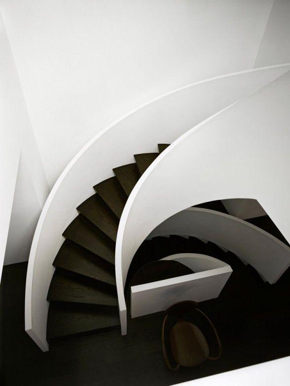 Contemporary wooden staircase design #interiordesign