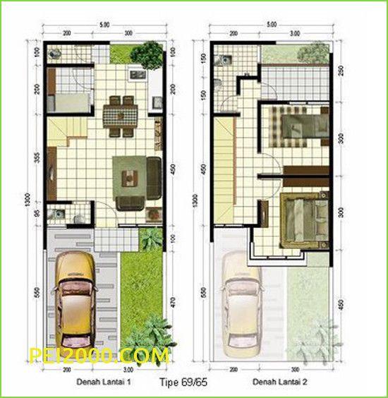 Contoh Model Contoh Rumah Ukuran 5 7 Modern Denah Rumah Denah Desain Rumah Rumah Minimalis