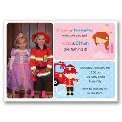 8 best joint birthday party invitation images on pinterest joint birthday party with photo with ariel little mermaid inspired and firefighter filmwisefo
