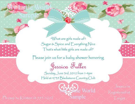 Shabby Chic invitations, printable baby shower invites, shabby chic baby shower on Etsy, $12.00